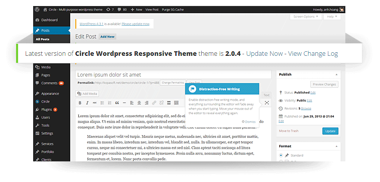 circle wordpress theme update notification