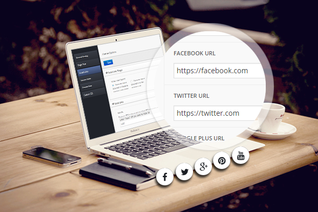 the mood wordpress theme social links support