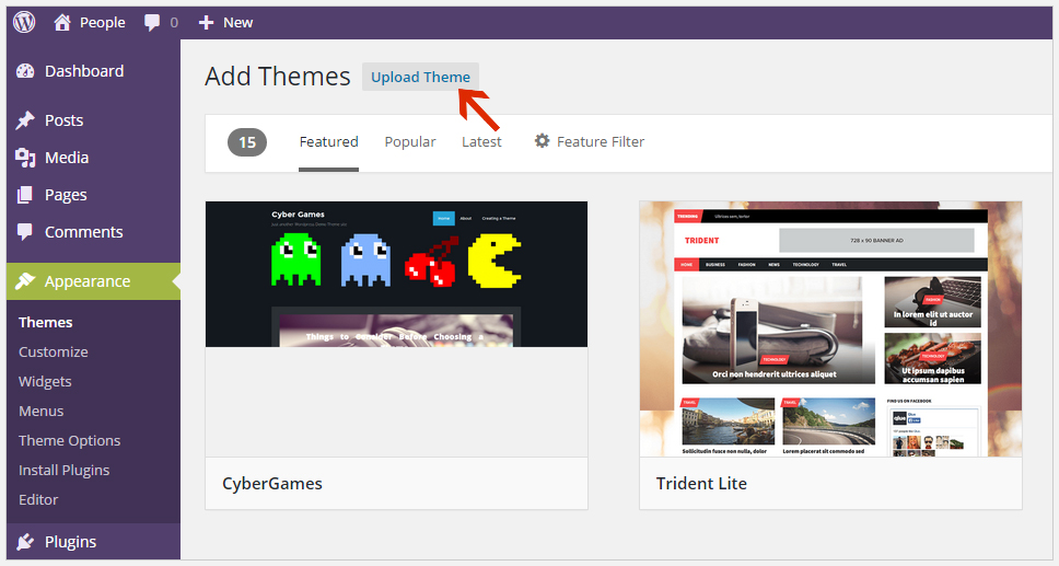 Upload theme WordPress theme installation