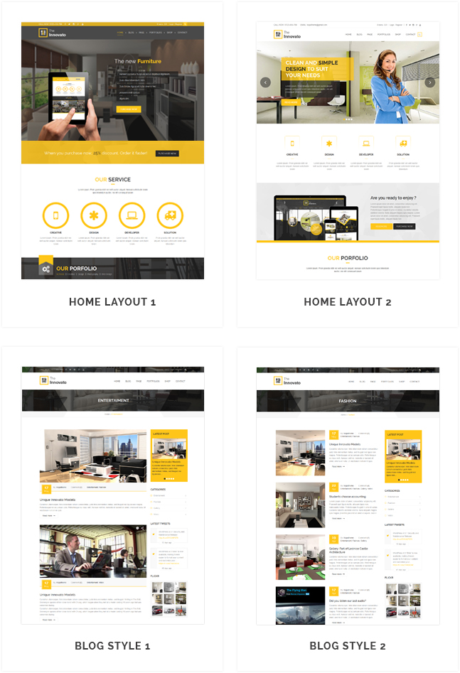 innovato wordpress theme layout