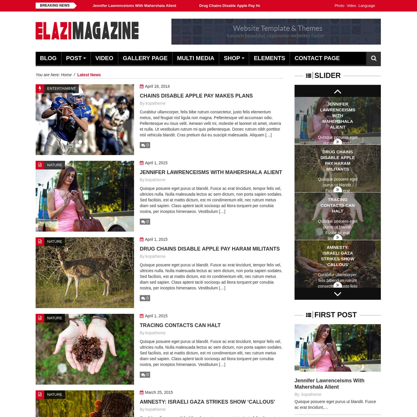 Elazi magazine WordPress theme
