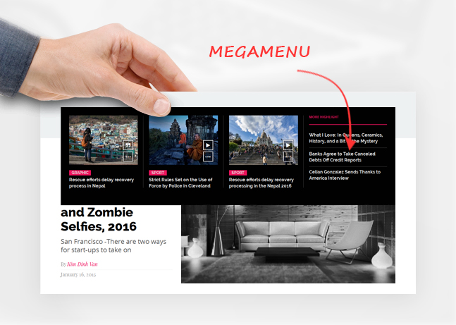friday news wordpress theme megamenu