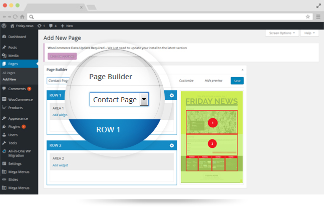 friday news wordpress theme visual page builder
