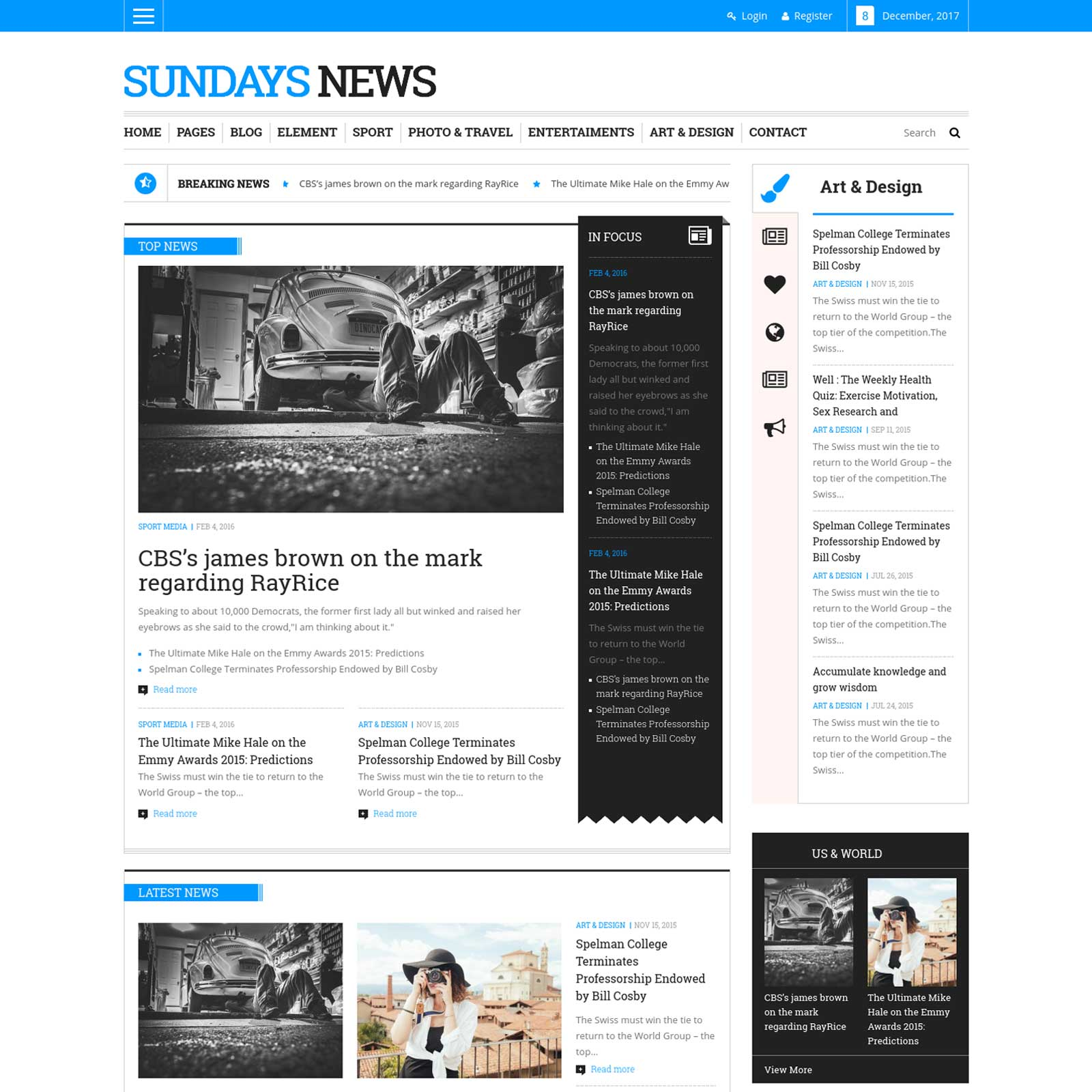 SUNDAY NEWS MAGAZINE WORDPRESS THEME